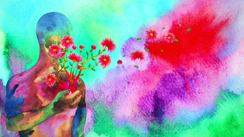 human red heart healing flower flow in universe love spiritual mind mental health chakra power abstract soul art watercolor painting illustration design drawing stop motion ultra hd 4k animation