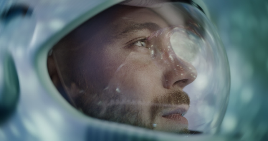 Astronaut Using Futuristic Flight Test Technology Exploration Mission Space Technology Close Up Shot Of Pilot Traveling In Space Virtual Reality And Screenless Display Innovation Red 8k