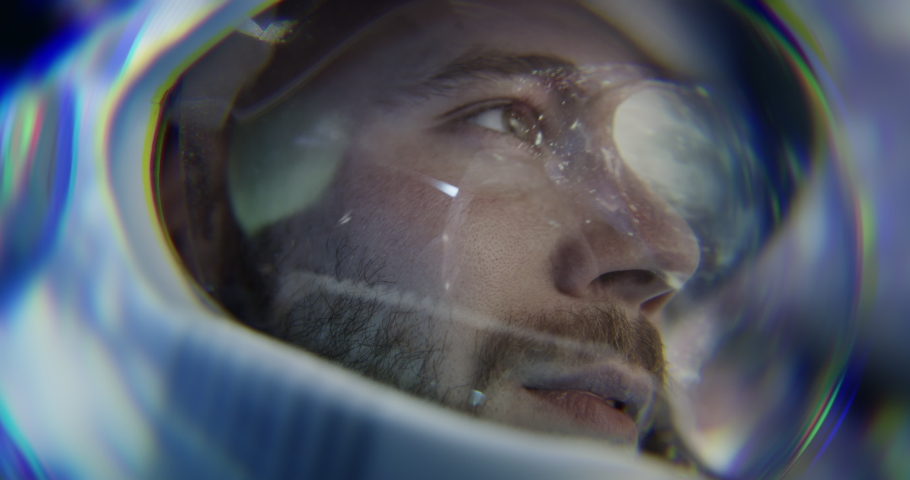Spaceman Space Exploration Mission Technology Future Concept Close Up Shot Of Pilot Training With Virtual Reality And Screenless Display Innovative Technology Wormhole Black Hole Red 8k Royalty-Free Stock Footage #1059727832