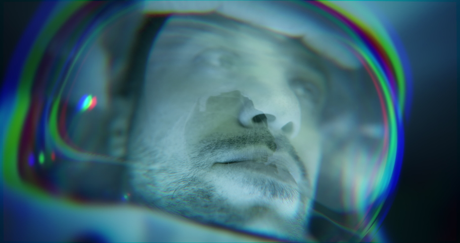 Astronaut During Rocket Launch Future Innovation Space Technology Travel Exploration and Human Colonization Concept Close Up Shot Of Courageous Male Pilot Travelling Trough Time Red 8k Royalty-Free Stock Footage #1059727850