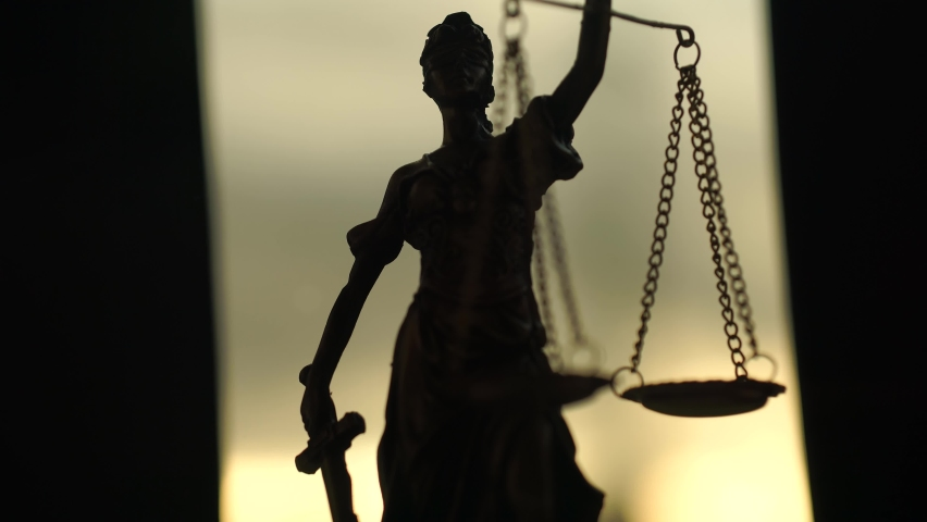Cinematic Lady Justice Holding Scales, Courtroom Symbol In America.