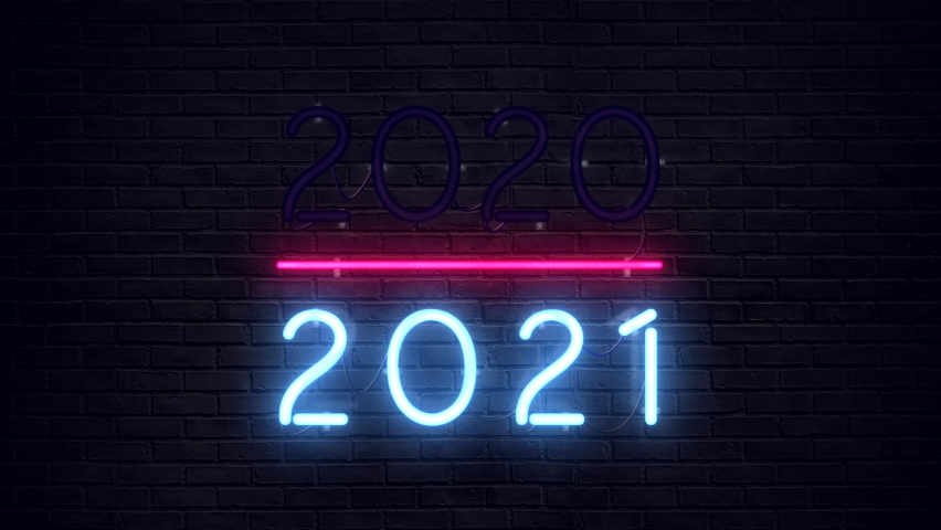 2020-2021 change Happy New Year neon sign background.  Royalty-Free Stock Footage #1059729557
