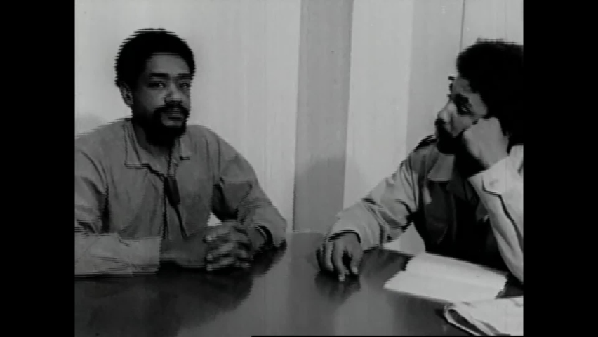 CIRCA 1970 - Black Panther leader Bobby Seale laughs as he is asked about prison life at San Francisco County Jail.