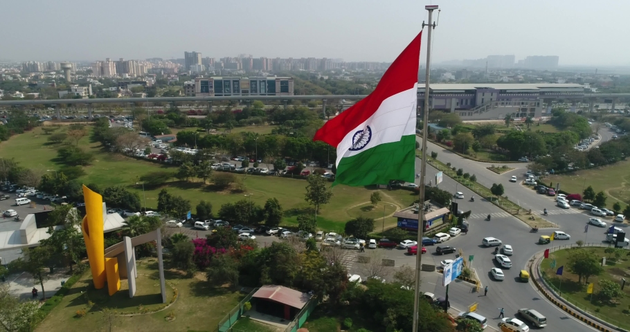 Drone shot of the Indian Tricolour Flag Fluttering- Wide Shot (fast) Royalty-Free Stock Footage #1059736316