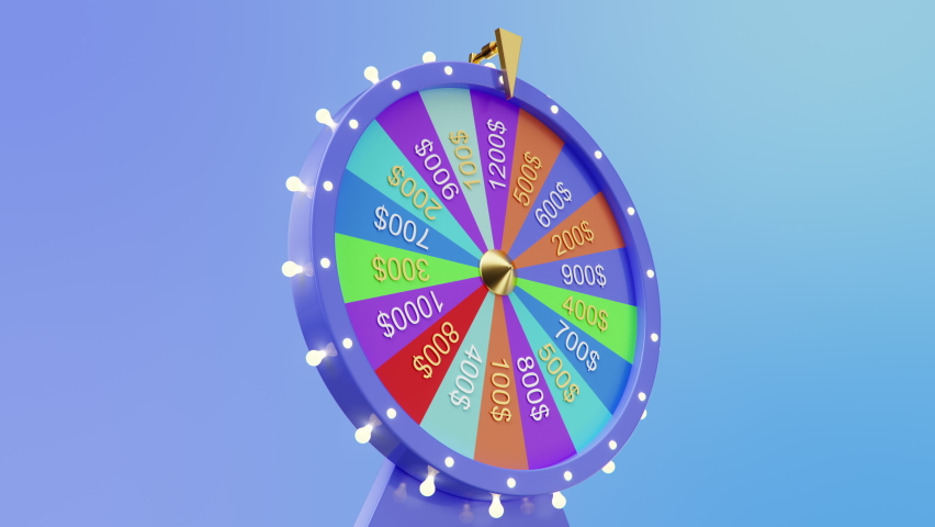 3d animation rotating colorful wheel of luck or fortune. Roulette fortune spinning wheels, casino wheel. Colorful Wheel fortune with alpha matte. 4K animation