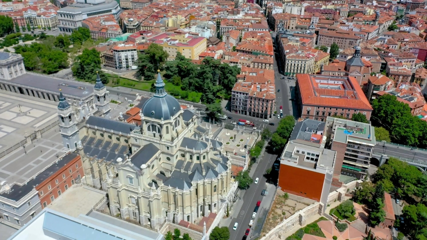 Aerial View Royal Palace In Madrid, Spain in summer time. Royalty-Free Stock Footage #1059740462