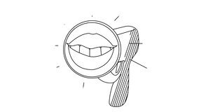 Beautiful linear megaphone with a female smile. Cute loudspeaker for whiteboard video. Stack 4k video.