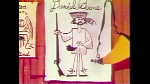 CIRCA 1959 - In this animated film, Daniel Boone is given a musical introduction.