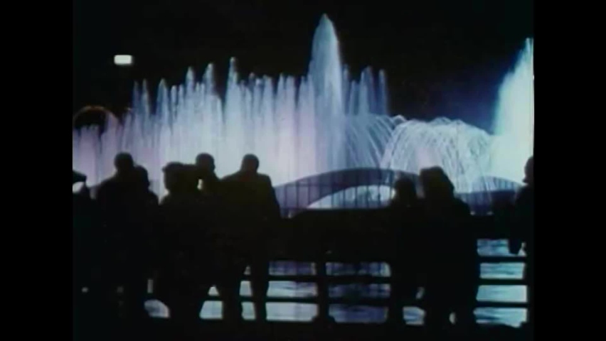 CIRCA 1960s - A water show and fireworks conclude a night at the 1964 New York World's Fair.