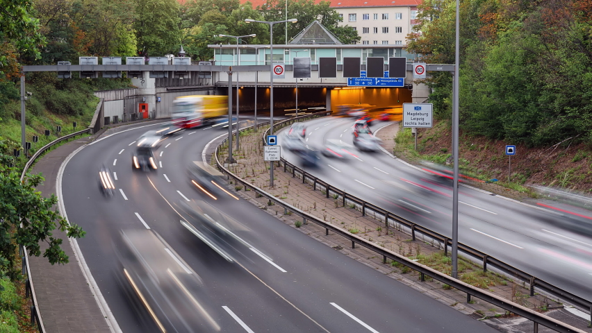 Golden Hour Time Lapse of city highway traffic, Berlin, Germany