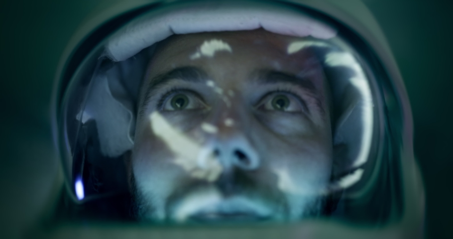 Spaceman With Space Helmet Future Technology Time Travel And Exploration Space Technology NASA Future Concept Close Up Shot Of Astronaut Traveling Through Black Hole Red 8k | Shutterstock HD Video #1059753476