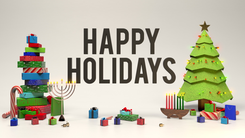 Happy holidays banner with christmas tree, menorah, kwanzaa candles, gifts, candy canes, and dreidels. Festive greeting card 3D animation in 4K.  Royalty-Free Stock Footage #1059760280