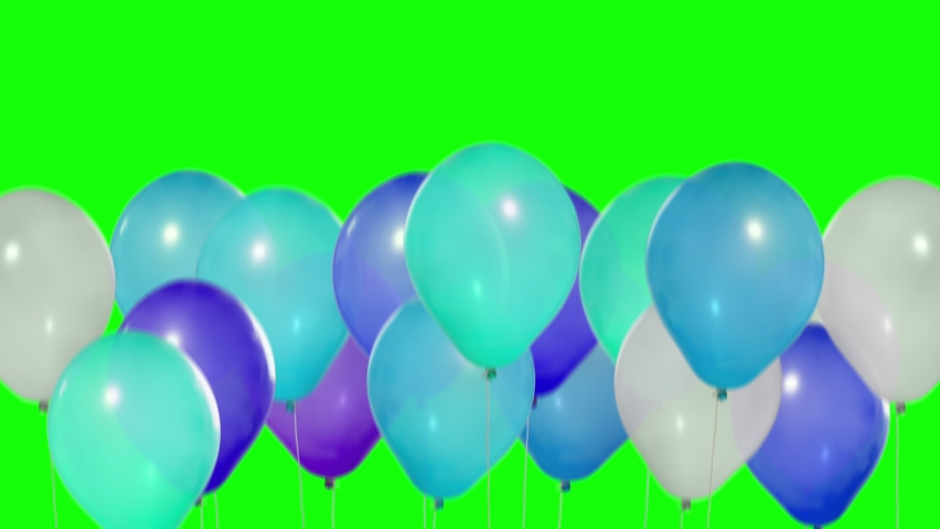 Many balloons go up. Cold colors. Set of colorful balloons. Multicolored balloons. Balloons rising in the air. Helium balloon with rope. Chroma key. Green screen. UltraHD 4K, 2160p, ProRes 422, 30 fps | Shutterstock HD Video #1059765119