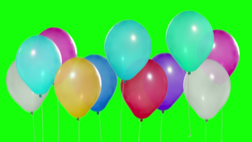 Many balloons go up. Transition for video editing. Multicolored balloons. Balloons rising in the air. Helium balloon with rope. Chroma key. Green screen. Keying. Ultra HD - 4K 2160p, ProRes 422, 30fps | Shutterstock HD Video #1059765131