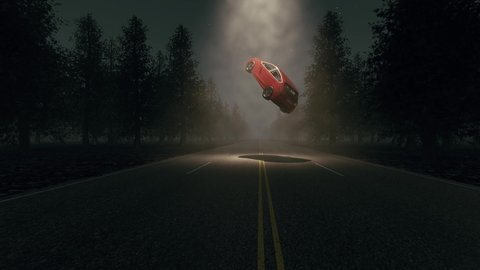 UFO red car Countryside landscape night 4k