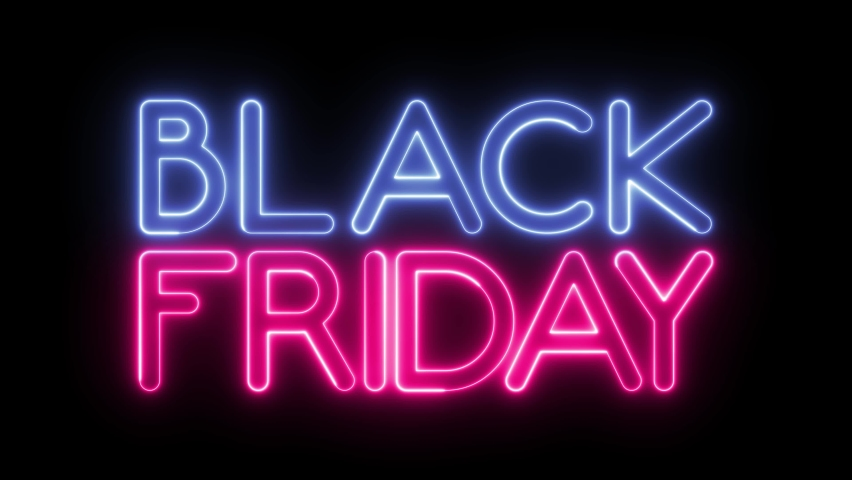 """Looped animated """"BLACK FRIDAY"""" text with neon effect. Royalty-Free Stock Footage #1059775415"""