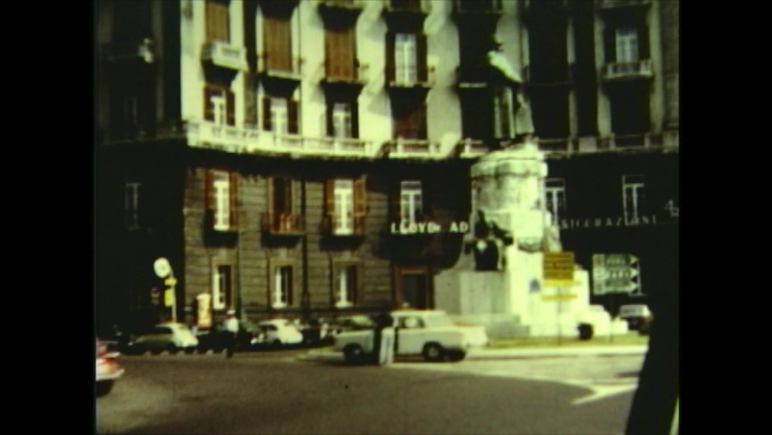 Italy / Naples- 1971: City port and historical places. Amateur film clip from the 1970's.