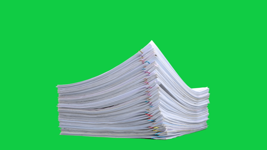 Stop motion animation Stacks overload document paper files on chroma key green screen background. Alpha Channel. Royalty-Free Stock Footage #1059791771