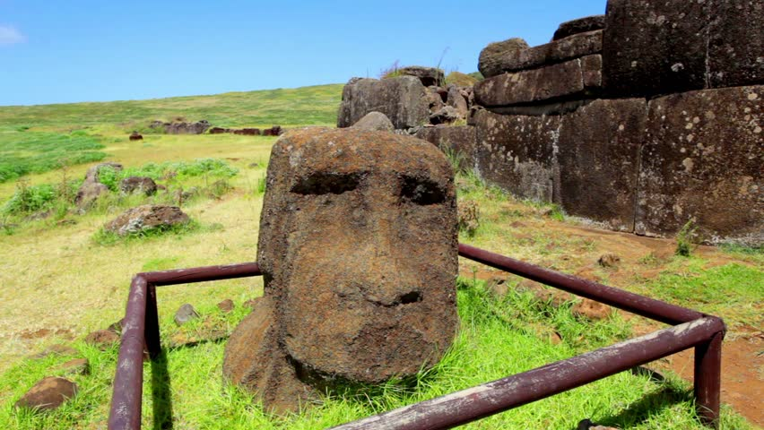 Fallen Easter Island statue in Chile. #10597961