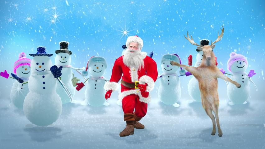 Merry christmas and happy new year, 3d rendering, Snowman, Deer,  santa claus Dancing, Animation Loop, cartoon
