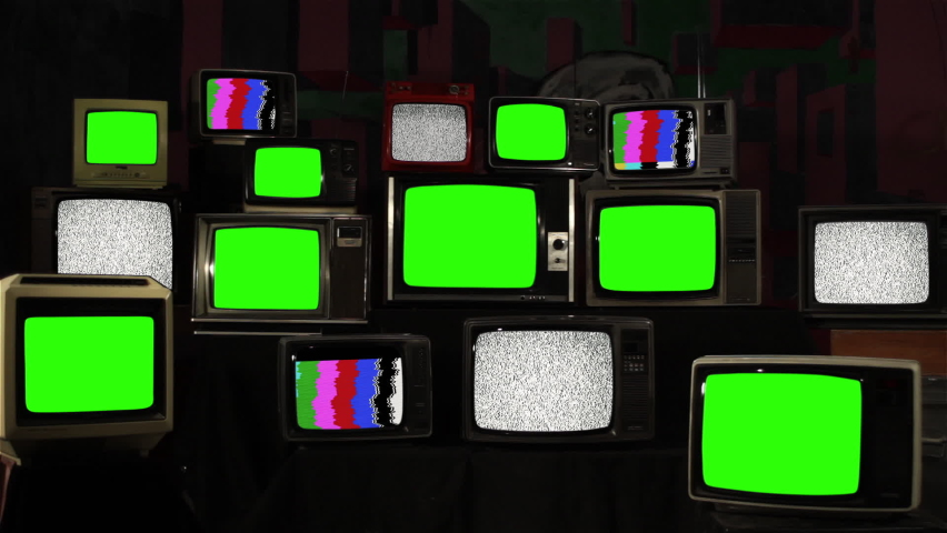 """Vintage Televisions Turning On and Off Green Screens with Static Noise and Color Bars. You can replace green screen with the footage or picture you want with """"Keying"""" effect in After FXs. Royalty-Free Stock Footage #1059813446"""