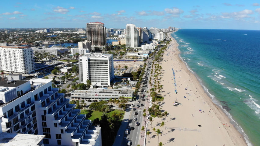 Aerial view of Fort Lauderdale beach, Unired States - beautiful panoramic view   Shutterstock HD Video #1059815336