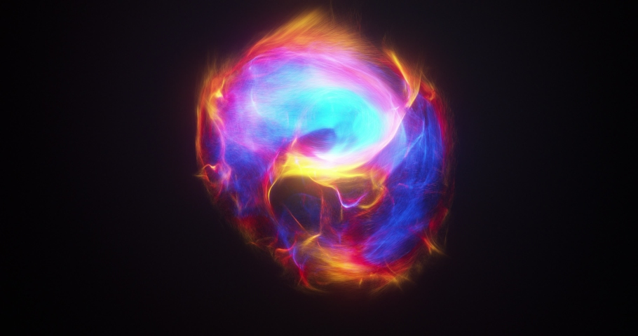 Abstract energy orb.  Energy in motion within a sphere object. exploding, surging power flexing and bursting with energy. Power ball container or storing energy.3D render, 4K loop Royalty-Free Stock Footage #1059821000