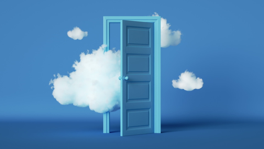 3d animation of white clouds floating through the opening door inside the empty blue room, surreal dream concept