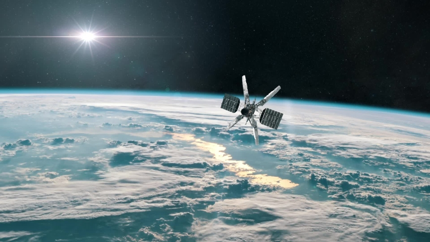 Military Spy Satellite Conducting Surveillance In Orbit Of Planet Earth