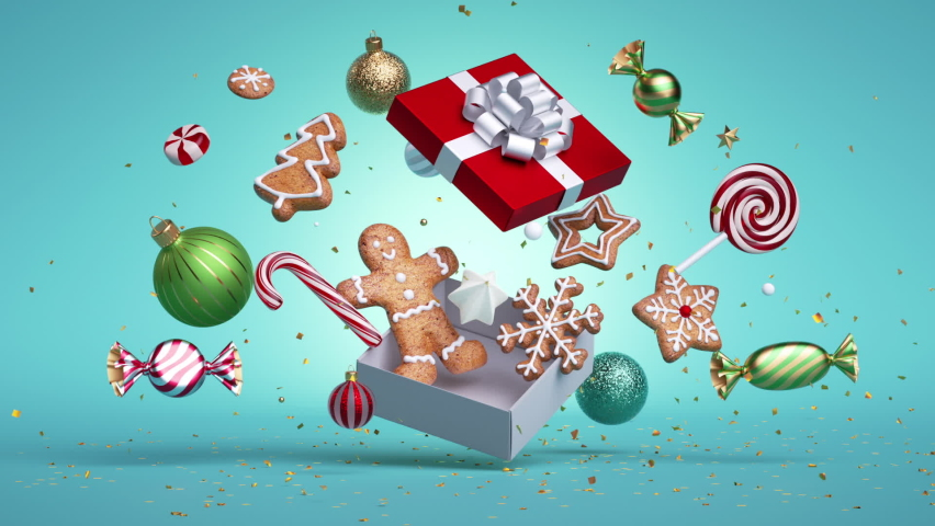 Christmas animated 3d greeting card. Gingerbread cookies, candies and balls jump from gift box, over blue background. Bang of golden confetti. Festive animation. Slow motion of levitating ornaments
