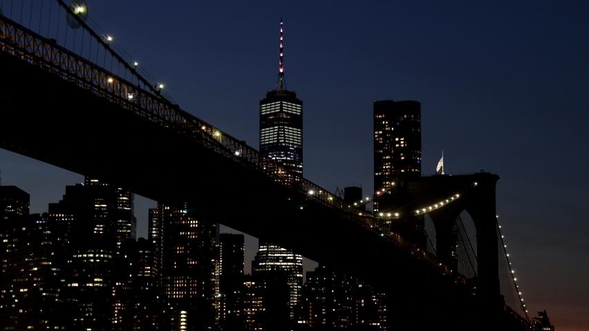 Beautiful Brooklyn bridge over Manhattan midtown with lights seen New York City NY USA | Shutterstock HD Video #1059830207