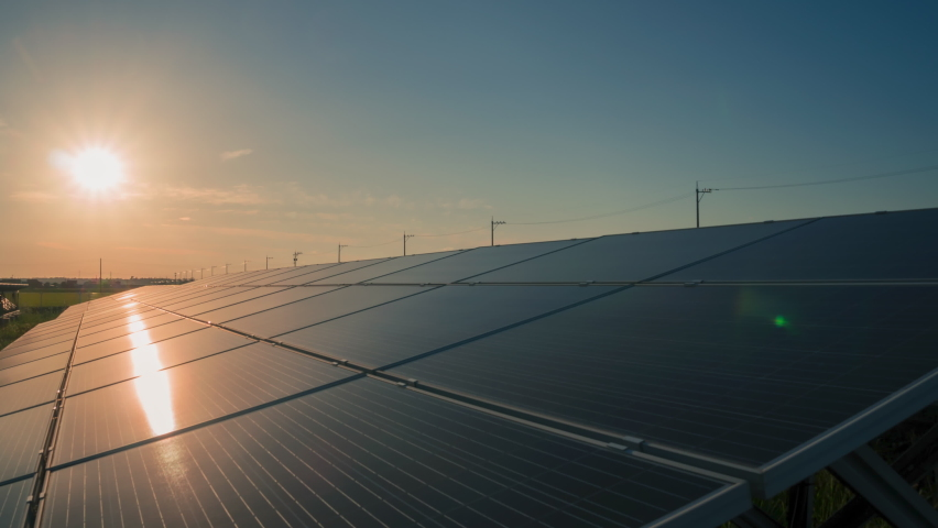 Time-lapse 4K large industrial Solar Energy Farm producing concentrated solar power day to night.Green energy concept. | Shutterstock HD Video #1059845825