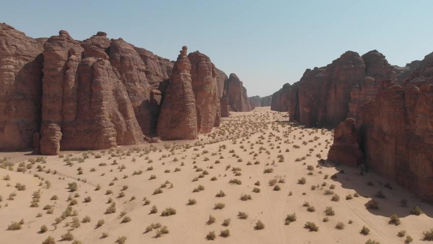 Aerial views of Raggasat valley canyon trail near Al Ula, Western Saudi Arabia