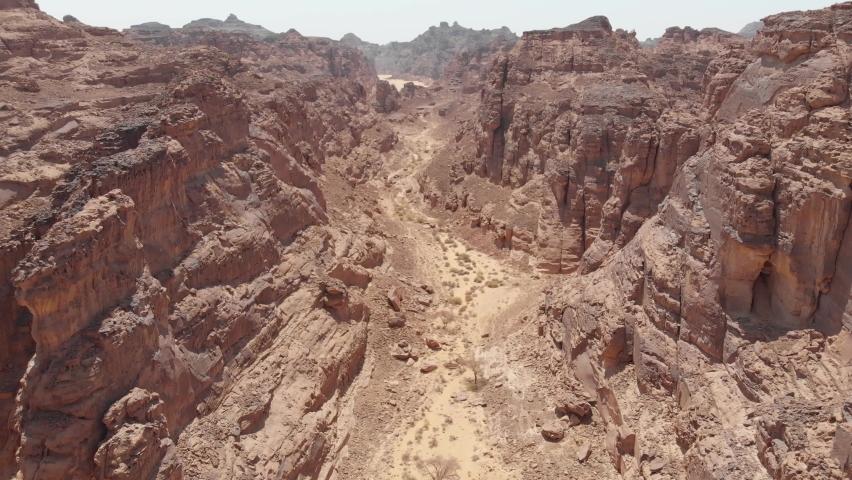Aerial views of hiking trail near Al Ula, Western Saudi Arabia