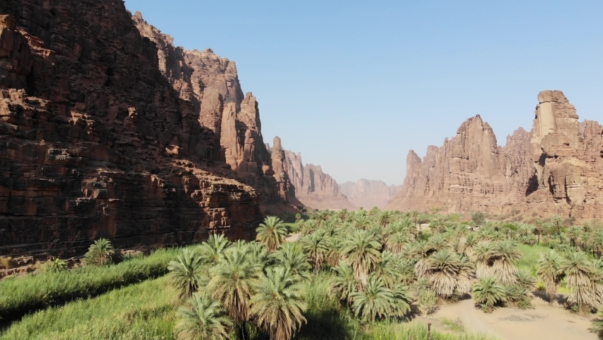 Aerial views of the natural wonder of Wadi Al Disah Valley in Tabuk, western Saudi Arabia