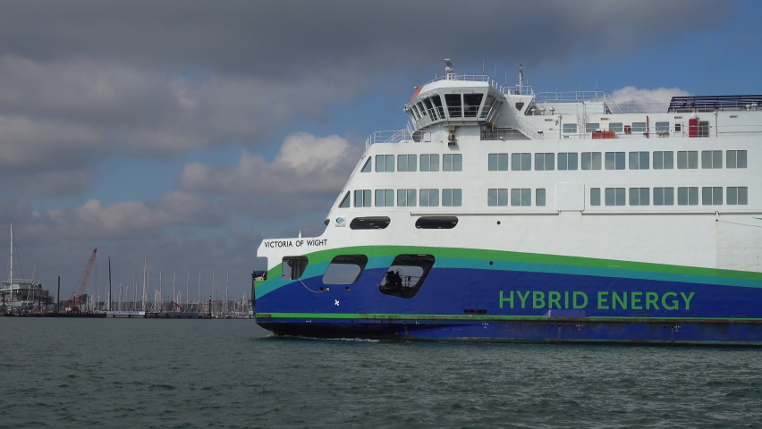 Portsmouth, Hampshire/UK 09-29-2020. New hybrid ferry leaving Portsmouth, The MV Victoria of Wight