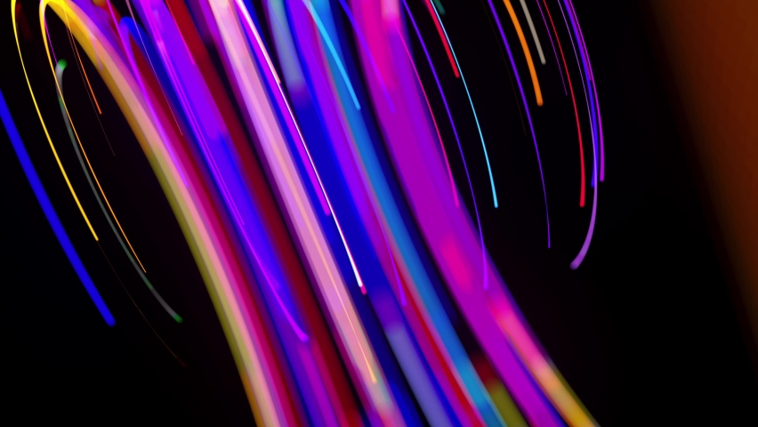 Motion graphics, sci-fi bg. Stream of multicolor neon lines form spiral shape, curls and pattern. Abstract background with light trails, Modern trendy motion design background. Light flow bg in 4k. | Shutterstock HD Video #1059858614
