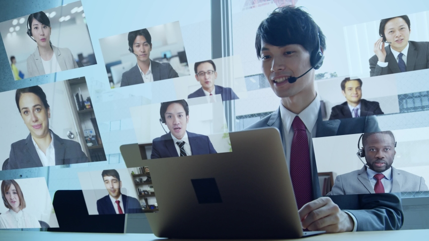 Young asian businessman taking video conference. Telemeeting. Web conference. Remote work. | Shutterstock HD Video #1059861284