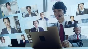 Young asian businessman taking video conference. Telemeeting. Web conference. Remote work.