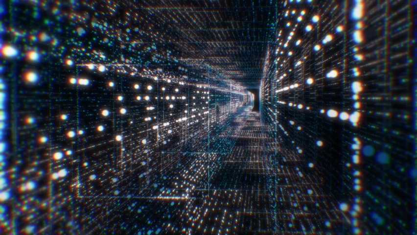 Motion graphic 4K flying into digital technologic tunnel.3D Big Data Digital tunnel square with futuristic matrix. Binary code particles network. Technological and connection motion background. | Shutterstock HD Video #1059869444