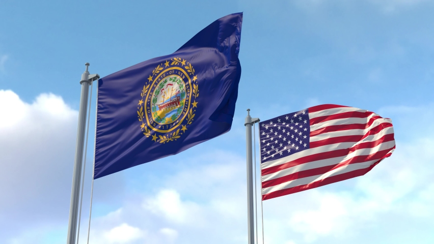 New Hampshire and USA Flags on a flagpole realistic wave on wind. The State of New Hampshire in The United States of America. Concord. Manchester. Luma Mattes for background cutting
