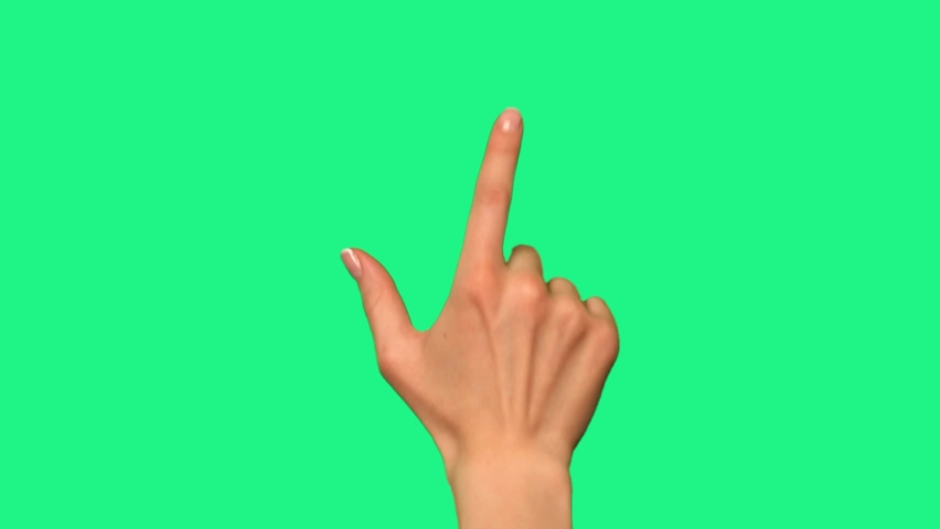 Gestures pack. Female hand touching, clicking, tapping, sliding, dragging and swiping on chroma key green screen background. Using a smartphone, tablet pc or a touchscreen. Interface concept. Royalty-Free Stock Footage #1059872522