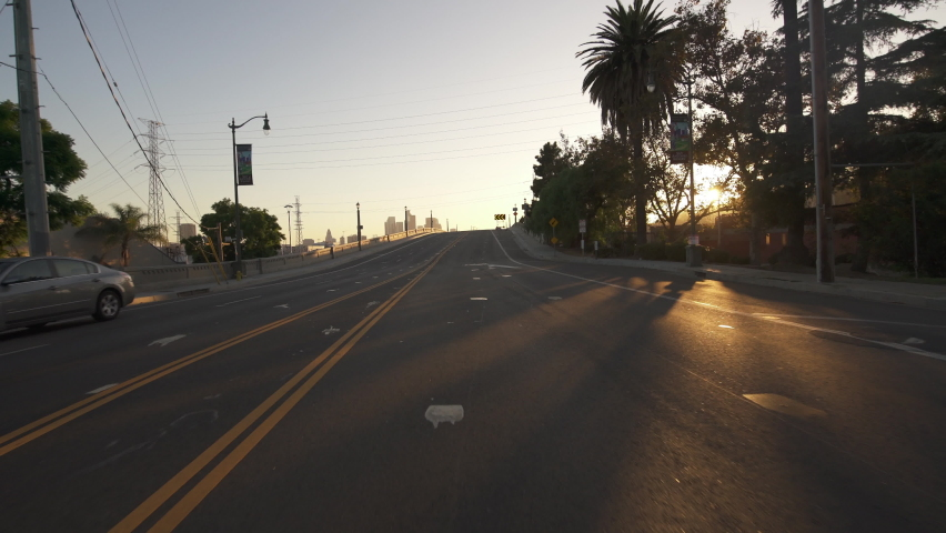 Los Angeles Downtown Spring St Bridge Southbound Sunset Driving Time Lapse Front View