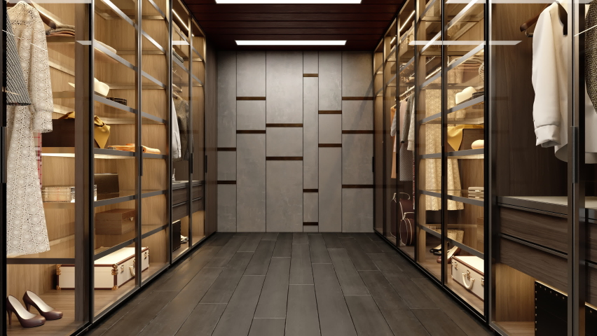3d Rendering of Dressing Room With Shelves And Lighting Equipment