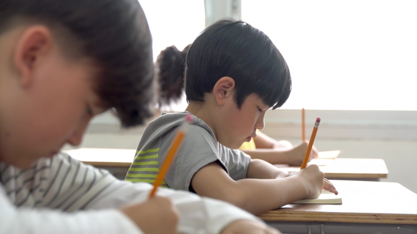 Asian school children sitting in school writing in book with pencil, studying, education, learning. Male and female students sitting at desk in classroom writing in notebook Royalty-Free Stock Footage #1059895955