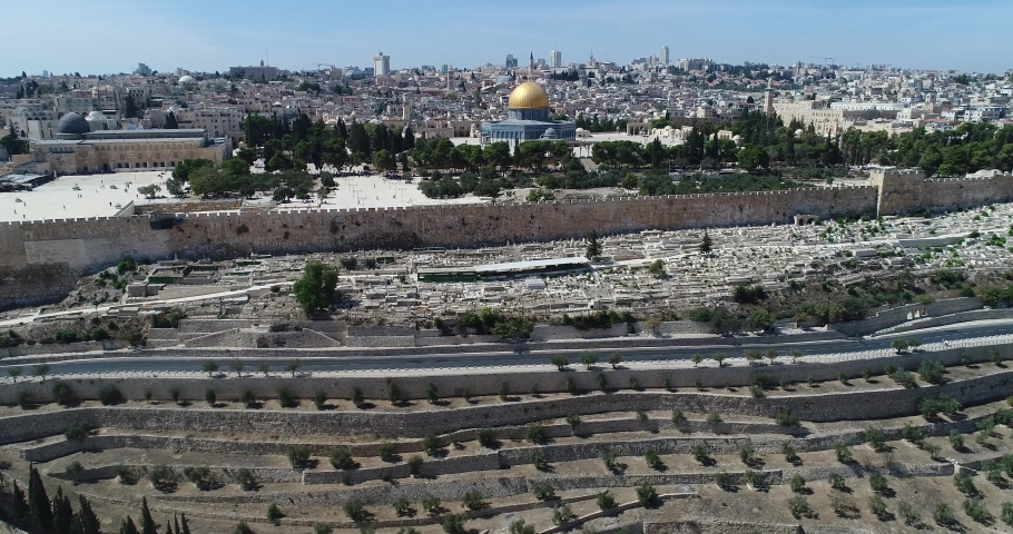 Jerusalem old city and golden dome - Aerial view | Shutterstock HD Video #1059897188