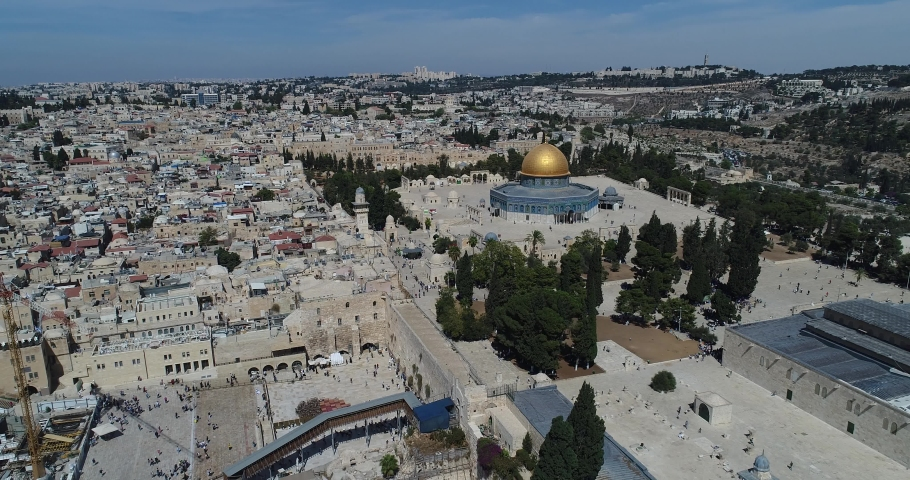 Jerusalem old city and golden dome - Aerial view | Shutterstock HD Video #1059897197