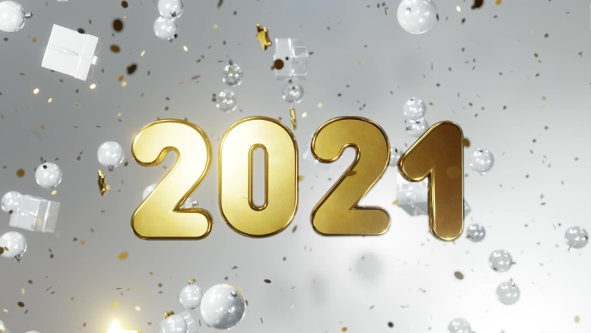 New year and Christmas 2021. Movable gold inscription 2021 on a white background with gold confetti, Christmas balls, gift boxes. 3D 4K loop animation Royalty-Free Stock Footage #1059906422