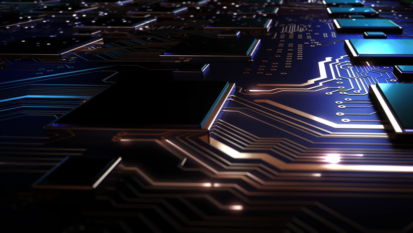 Data processing in circuit board abstract server. Data moves in the form of moving lines. The movement and processing of data inside a server or computer. 3D Rendering Royalty-Free Stock Footage #1059906425