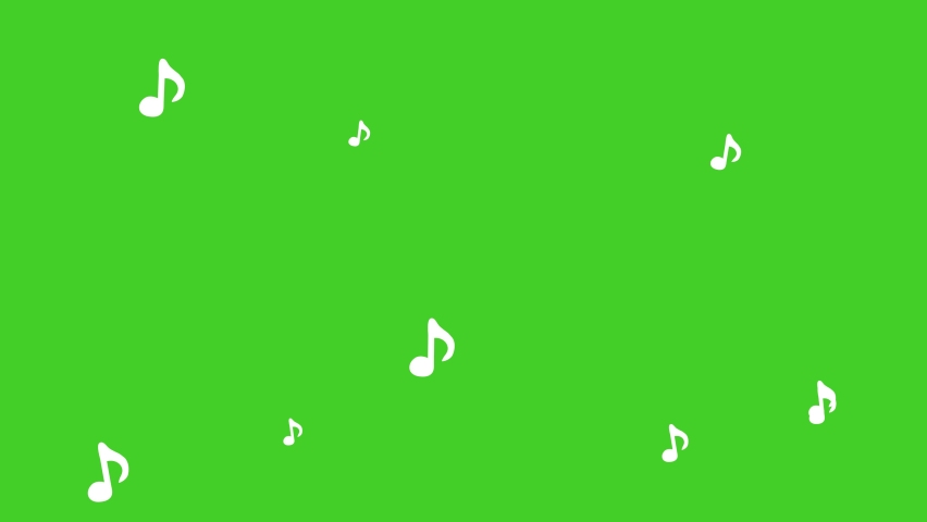 Green screen musical note streaming up in melody. 4K